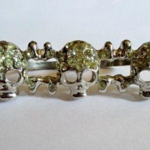Jewelry - TRIPLE Rhinestone THREE SKULL KNUCKLE Ring Goth